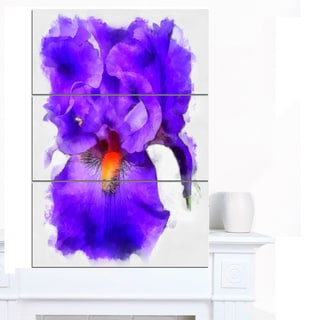 Designart 'Blue Iris Flower Sketch Watercolor' Modern Floral Canvas Wall Art