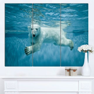 Designart 'Polar Bear Swimming under Water' Large Animal Canvas Artwork