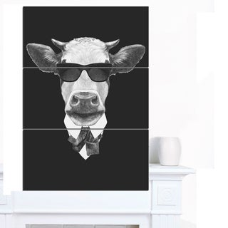 Designart 'Funny Cow in Suit with Glasses' Modern Animal Canvas Art