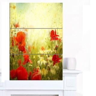 Designart 'Grunge Background with Red Poppies' Modern Floral Artwork on Canvas