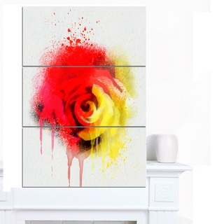 Designart 'Beautiful Red Yellow Rose Watercolor' Flowers Canvas Wall Artwork