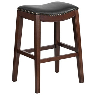 30-inch High Backless Wood Barstool with Leather Seat