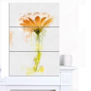 Designart 'Orange Gerbera Sketch Watercolor' Flowers Canvas Wall Artwork