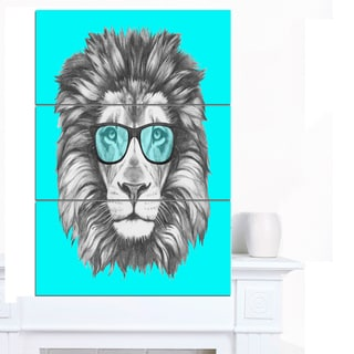 Designart 'Funny Lion with Blue Glasses' Modern Animal Canvas Art