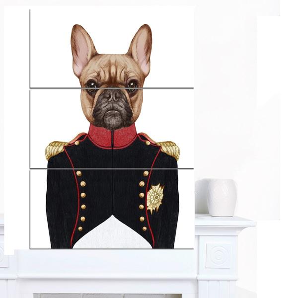Designart 'French Bulldog in Military Uniform' Modern Animal Canvas Art
