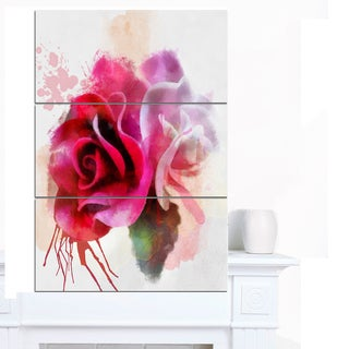 Designart 'White Red Roses with Color Splashes' Floral Canvas Artwork Print