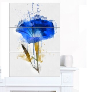Designart 'Blue Gentiana Alpina Watercolor' Modern Floral Canvas Wall Art