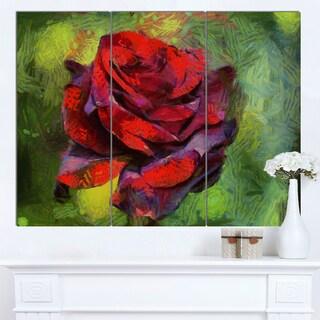Designart 'Red Rose Illustration on Green' Modern Floral Canvas Wall Art