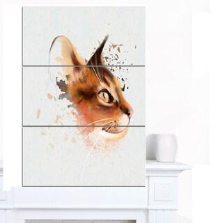 Designart 'Lovely Brown Cat Watercolor Sketch' Large Animal Canvas Artwork