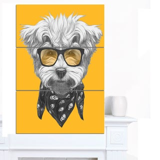 Designart 'Maltese Poodle with Sunglasses' Modern Animal Canvas Art