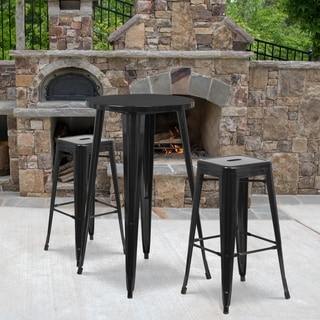 24-inch Round Metal Indoor-Outdoor Bar Table Set with 2 Square Seat Backless Barstools
