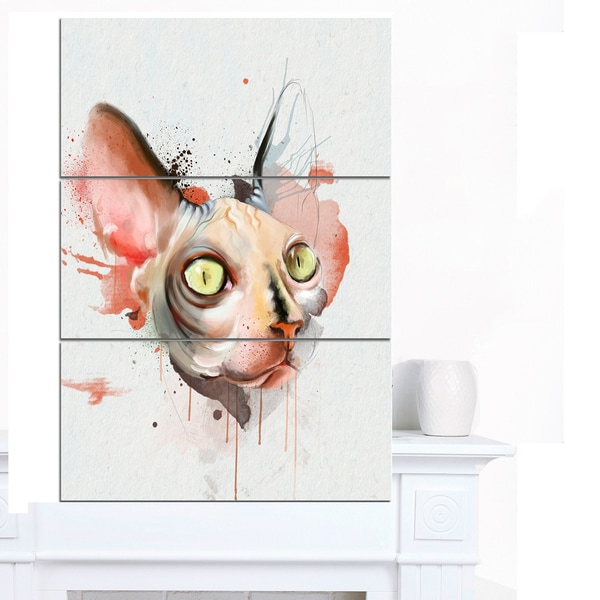 Designart 'Red Faced Cat Watercolor Sketch' Large Animal Canvas Artwork - Red