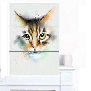 Designart 'Strong Look of Cat Watercolor Sketch' Large Animal Canvas Artwork