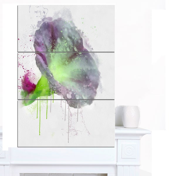 Designart 'Violet Gentiana Alpina Watercolor' Modern Floral Canvas Wall Art