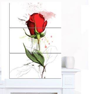 Designart 'Red Rose Hand-drawn Illustration' Modern Floral Canvas Wall Art