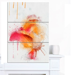 Designart 'Orange Rose Illustration Watercolor' Modern Floral Canvas Wall Art