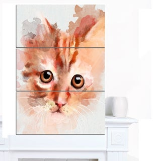 Designart 'Red Watercolor Kitten Sketch' Modern Animal Canvas Wall Art
