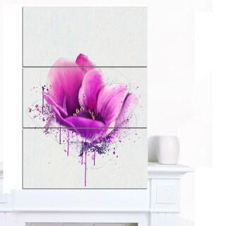 Designart 'Purple Watercolor Poppy Flower' Floral Canvas Artwork Print