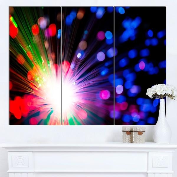 Designart 'Multicolor Optical Fiber Lighting' Large Abstract Canvas Wall Art
