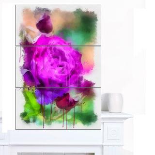 Designart 'Purple Watercolor Rose Painting' Floral Canvas Artwork Print