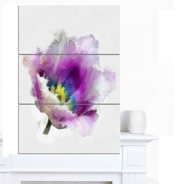 Designart 'Purple Watercolor Tulip Flower' Floral Canvas Artwork Print