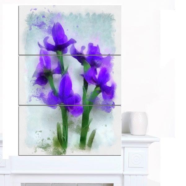 Designart 'Blue Irises Illustration Watercolor' Modern Floral Canvas Wall Art - Blue