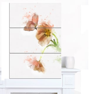 Designart 'Cute Tulips Illustration Watercolor' Modern Floral Canvas Wall Art