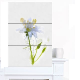 Designart 'White Green Watercolor Flower Sketch' Floral Canvas Artwork Print