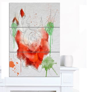 Designart 'Red Rose Illustration Watercolor' Modern Floral Canvas Wall Art
