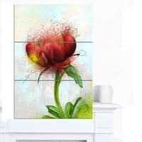Designart 'Cute Red Green Watercolor Flower' Floral Canvas Artwork Print