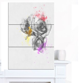 Designart 'Black White Watercolor Rose Sketch' Floral Canvas Artwork Print