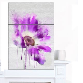 Designart 'Beautiful Purple Rose Watercolor' Modern Floral Canvas Wall Art