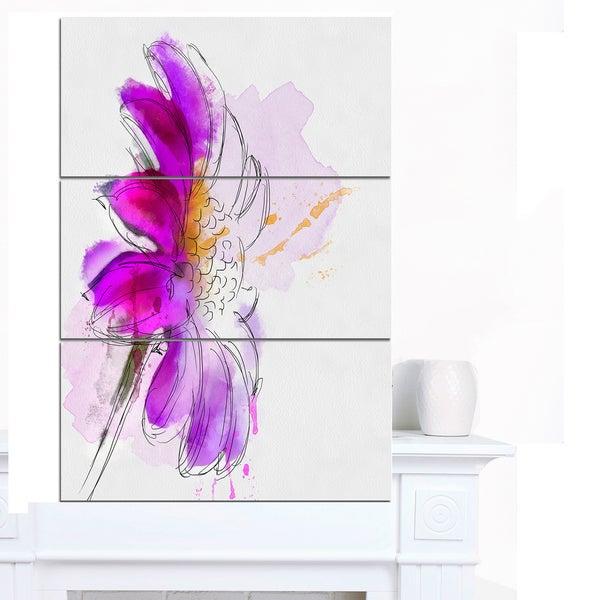 Designart 'Purple Watercolor Gerbera Illustration' Floral Canvas Artwork Print - Purple