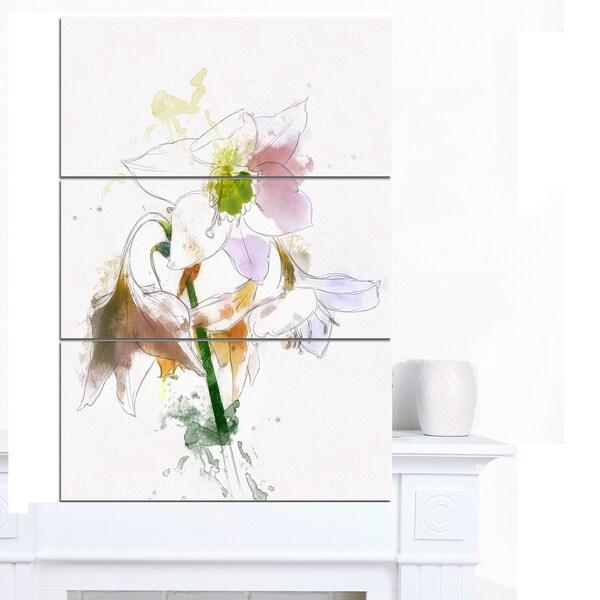 Designart 'Large Petal Watercolor Flower Sketch' Floral Canvas Artwork Print