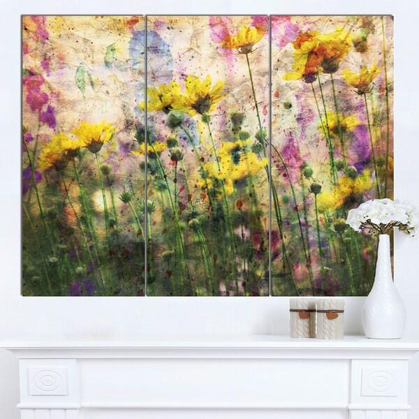 Designart 'Coreopsis Flowers and Paint Splashes' Flower Artwork on Canvas - multi