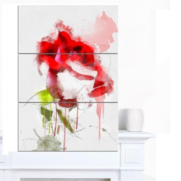 Designart 'Red Rose Sketch with Red Splashes' Large Floral Canvas Artwork