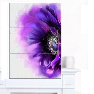 Designart 'Purple Stylized Watercolor Poppy' Floral Canvas Artwork Print