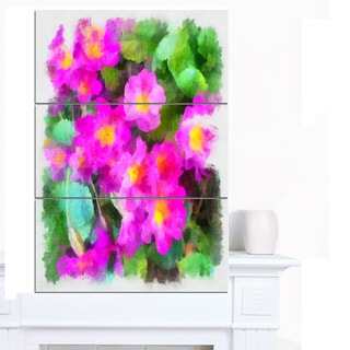 Designart 'Pink Little Flowers with Green Leaves' Large Floral Canvas Artwork