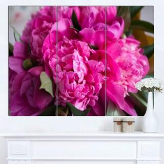 Designart 'Pink Peonies on Wooden Background' Flower Artwork on Canvas