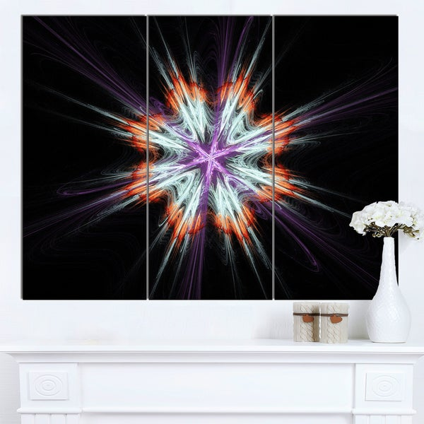 Designart 'Abstract Flowers on Black Background' Flower Artwork on Canvas