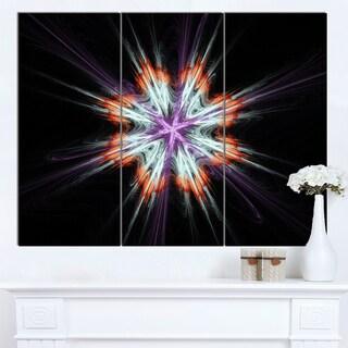 Designart 'Abstract Flowers on Black Background' Flower Artwork on Canvas