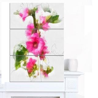 Designart 'Pink Flower with Stem and Leaves' Large Floral Canvas Artwork