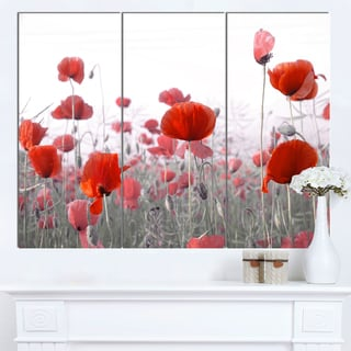 Designart 'Amazing Red Poppy Flower Garden' Flower Artwork on Canvas