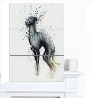 Designart 'Black Dog Watercolor with Splashes' Large Animal Canvas Artwork