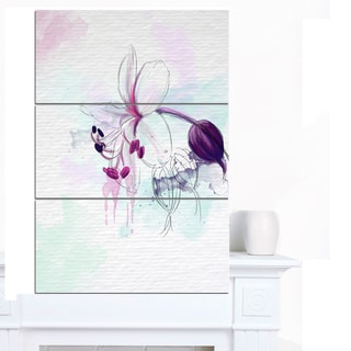 Designart 'Beautiful Purple Flower with Splashes' Large Floral Canvas Artwork