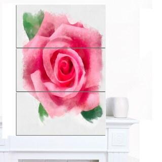 Designart 'Big Pink Rose Flower with Leaves' Large Floral Canvas Artwork