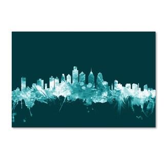 Michael Tompsett 'Philadelphia PA Skyline Teal' Canvas Art