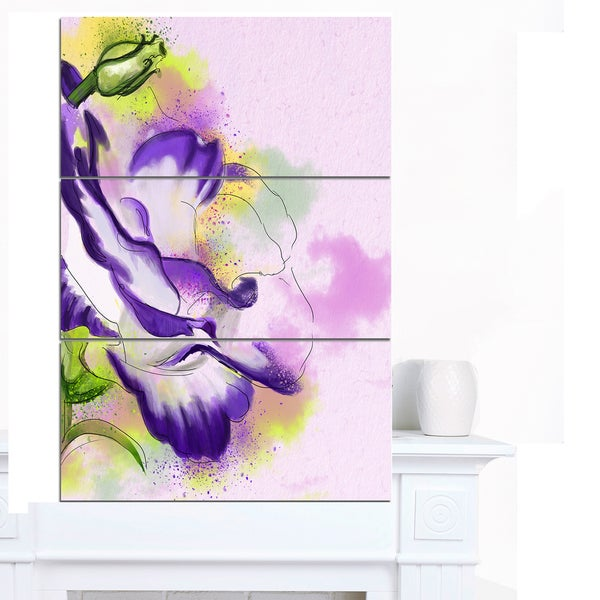 Designart 'Abstract Blue Flower Watercolor' Floral Canvas Artwork Print
