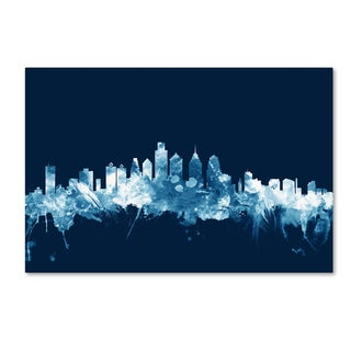 Michael Tompsett 'Philadelphia PA Skyline Navy' Canvas Art