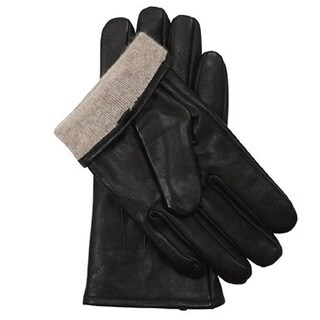 100% Love Men's Black Leather and Cashmere Lining Gloves